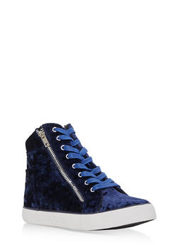 Velvet Lace Up High Top Sneakers - 3114073541763