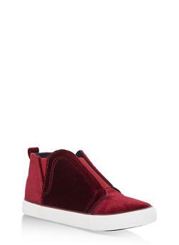 Velvet Slip On High Top Sneakers - BURGUNDY VELVET - 3114073541764