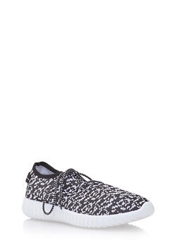 Knit Sneakers with Ribbed Outsoles - BLACK/WHITE - 3114073545374