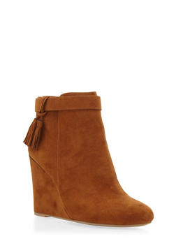Faux Suede Wedge Booties with Tassel Accents - 3116004063296