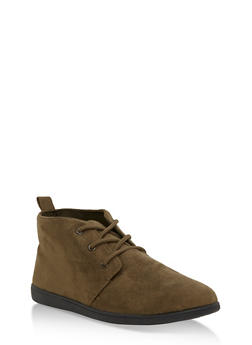 Lace Up Faux Suede Desert Booties - OLIVE F/S - 3116004066288