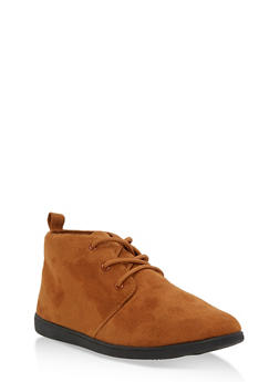 Lace Up Faux Suede Desert Booties - COGNAC F/S - 3116004066288