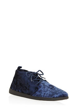 Velvet Lace Up Desert Booties - NAVY VLT - 3116004066289