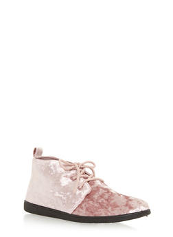 Velvet Lace Up Desert Booties - MAUVE VLT - 3116004066289