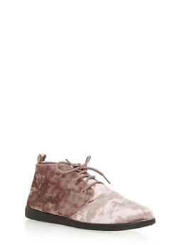Velvet Lace Up Desert Booties - TAUPE VLT - 3116004066289
