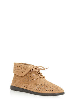 Fold Over Lasercut Desert Boots - TAUPE F/S - 3116004066290