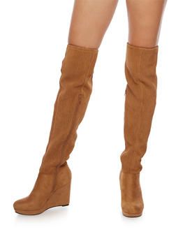 Over the Knee Wedge Boots with Ribbed Detail - 3116004066293