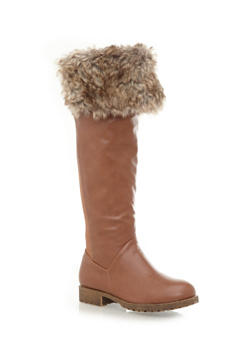 Foldover Knee-High Boots with Faux Fur Trim - 3116004066686