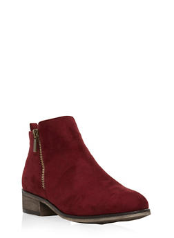 Side Zip Booties - BURGUNDY F/S - 3116004067251