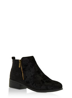 Crushed Velvet Side Zip Ankle Booties - BLACK VELVET - 3116004067252