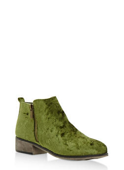 Crushed Velvet Side Zip Ankle Booties - GREEN VELVET - 3116004067252