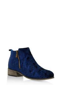 Crushed Velvet Side Zip Ankle Booties - NAVY VELVET - 3116004067252