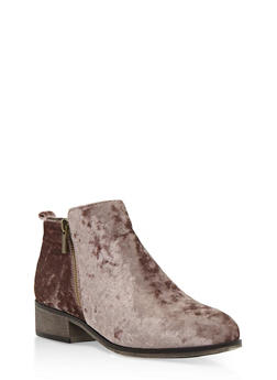Crushed Velvet Side Zip Ankle Booties - TAUPE VELVET - 3116004067252