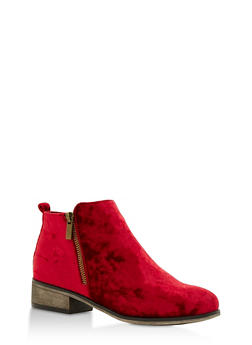 Crushed Velvet Side Zip Ankle Booties - BURGUNDY VELVET - 3116004067252