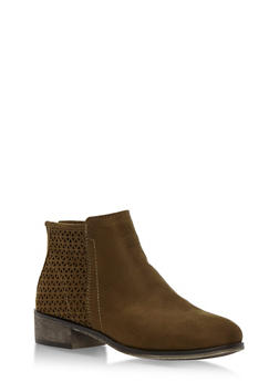 Faux Suede Perforated Booties - OLIVE F/S - 3116004067254