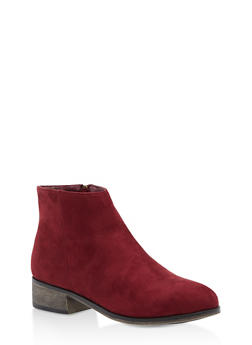Pointed Toe Booties - BURGUNDY F/S - 3116004067256