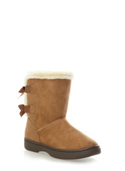 Ankle Boots with Bow Ribbon Trim,CHESTNUT,medium