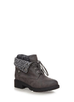 Foldover Hiking Booties with Sweater Knit Cuff,GRAY,medium