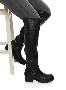 Over The Knee Boots with Flat Stud Accents - BLACK - 3116014062280