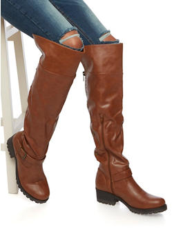 Over The Knee Boots with Flat Stud Accents - CHESTNUT - 3116014062280