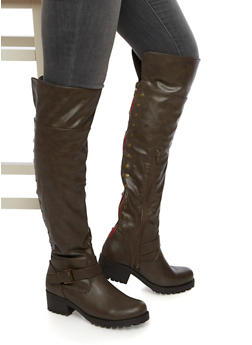 Over The Knee Boots with Flat Stud Accents - TAUPE - 3116014062280