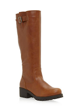 Faux Leather Knee High Boots with Side Buckle Cinch - 3116014062281