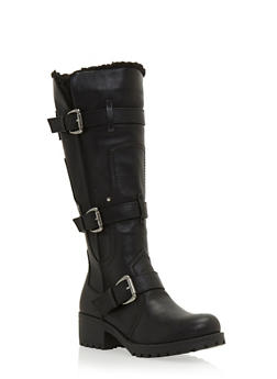 Knee High Boots with Faux Fur Lining and Buckles - 3116014062282