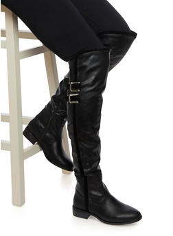 Over the Knee Boots with Buckles and Velvet Trim - 3116014062743