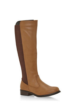 Faux Leather Boots with Elastic Panels - 3116014063323