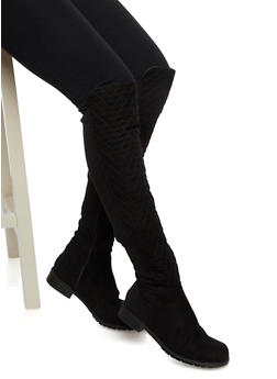 Over The Knee Boots in Quilted Faux Suede - 3116014064267