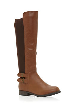 Flat Knee High Boots with Double Buckle - 3116014066668
