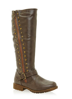 Studded Moto Boots in Faux Leather - 3116014066670