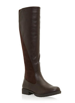 Knee High Boots with Faux Leather and Suede - 3116014066671