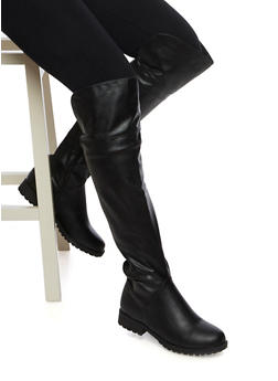 Over The Knee Boots with Elastic Back - 3116014066672