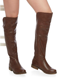 Thigh High Low Heel Boot - 3116014066672