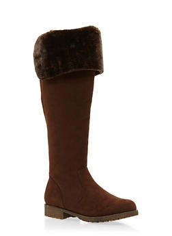 Knee High Boots with Faux Fur Cuff - 3116014066673