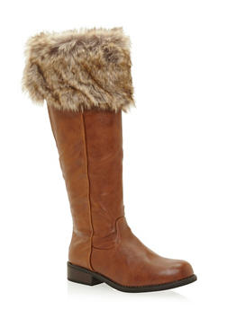 Faux Leather Knee High Boots with Faux Fur Cuff - 3116014067456