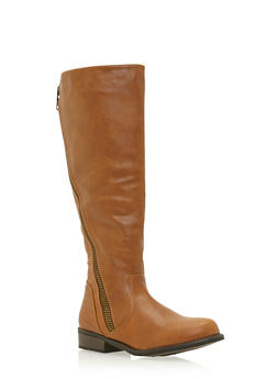 Moto Knee High Boots with Asymmetrical Counter Zip - 3116014067457