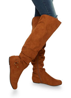 Slouchy Knee High Boots with Ring Buckle - 3116014067923
