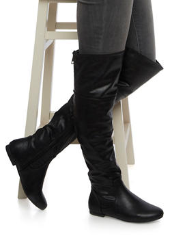 Faux Leather Over The Knee Boots with Zip Accents - 3116014068427