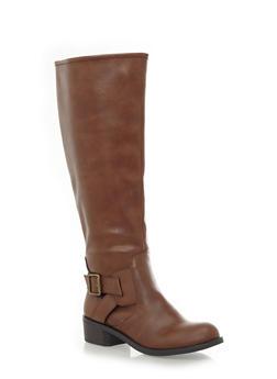 Wide Calf Knee High Boots with Buckle Trim,COGNAC,medium