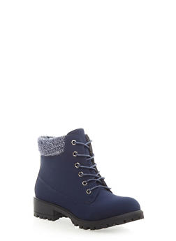 Knit Collar Lace-Up Work Boot,NAVY,medium