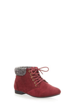 Lace-Up Booties with Sweater Knit Upper,WINE,medium