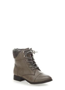 Marled Knit Cuff Hiking Boots with Back Zipper,GRAY,medium
