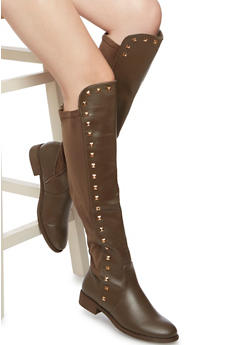 Knee High Boots with Studs - 3116065468769