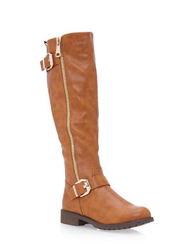 Faux Leather Knee High Boots with Side Buckles - 3116065469293