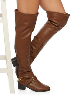 Over The Knee Boots with Curb Chain Strap - 3116065482278