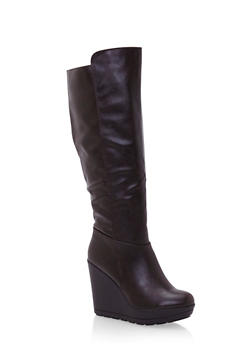 Wedged Knee High Boots in Faux Leather - 3116065482523