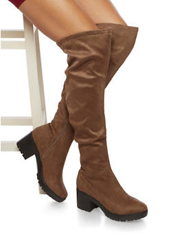 Platform Over The Knee Boots in Faux Suede - 3116065482837