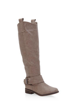 Tall Biker Boots with Buckle Strap - 3116065487433